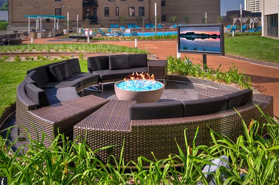 "Solus hemi 36"" fire pit in circular seating outdoors, glass fire stones"
