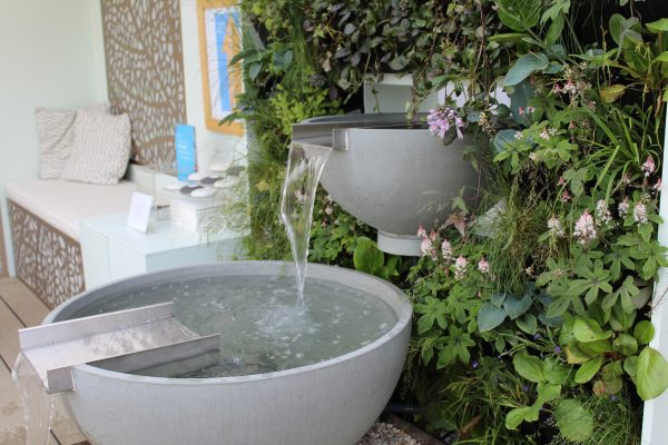 Solus scupper water features at RHS Chelsea flower show