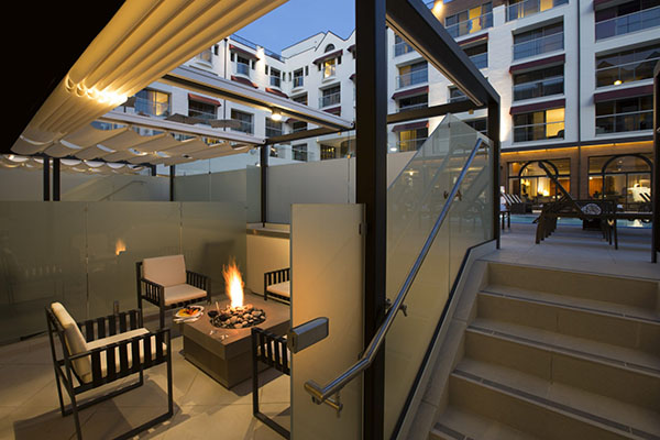 Elevated Halo Fire Pit in Poolside Cabana at Loews Santa Monica Beach Hotel, California