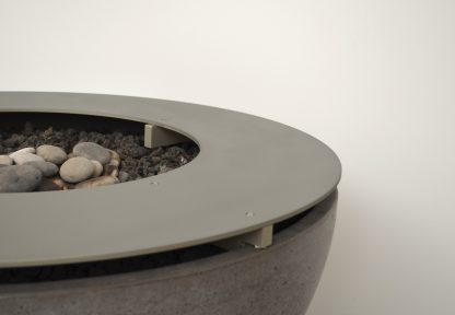 Solus metal ring top detail on hemi firepit