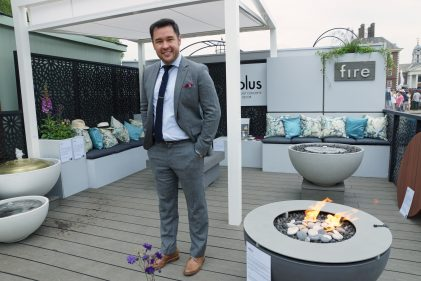James Wong BBC presenter, Solus Decor metal table top, hemi fire pit, chelsea flower show