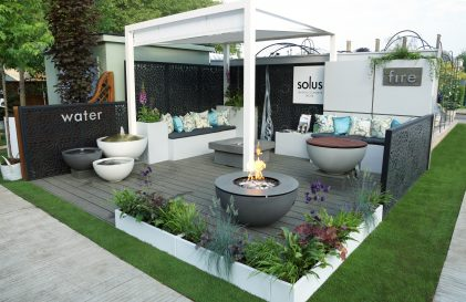 Solus Decor, Chelsea Flower Show. Contemporary Design, fire pits, water features