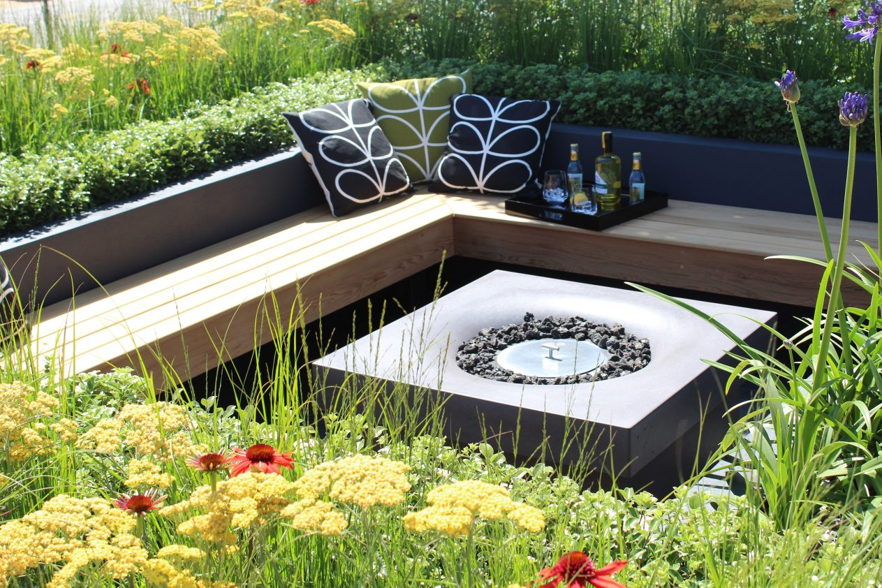 Solus Decor elevated halo fire pit at Hampton Court Flower Show