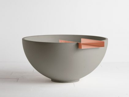 Solus Decor concrete water feature in Nori with Copper Scupper